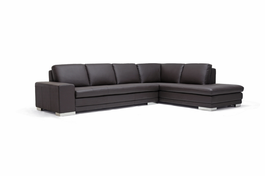 Callidora Brown Leather Sectional Sofa with right facing chaise