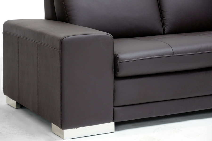 ... Baxton Studio Callidora Brown Leather Sectional Sofa With Right Facing  Chaise   BSO766 Sofa/ ...