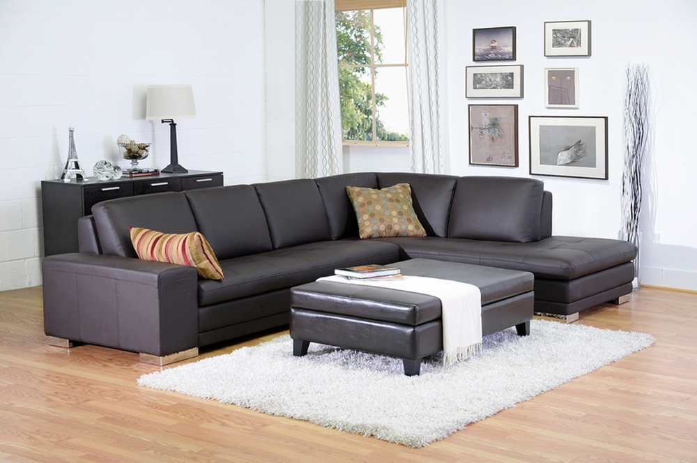 Callidora Brown Leather Sectional Sofa With Right Facing