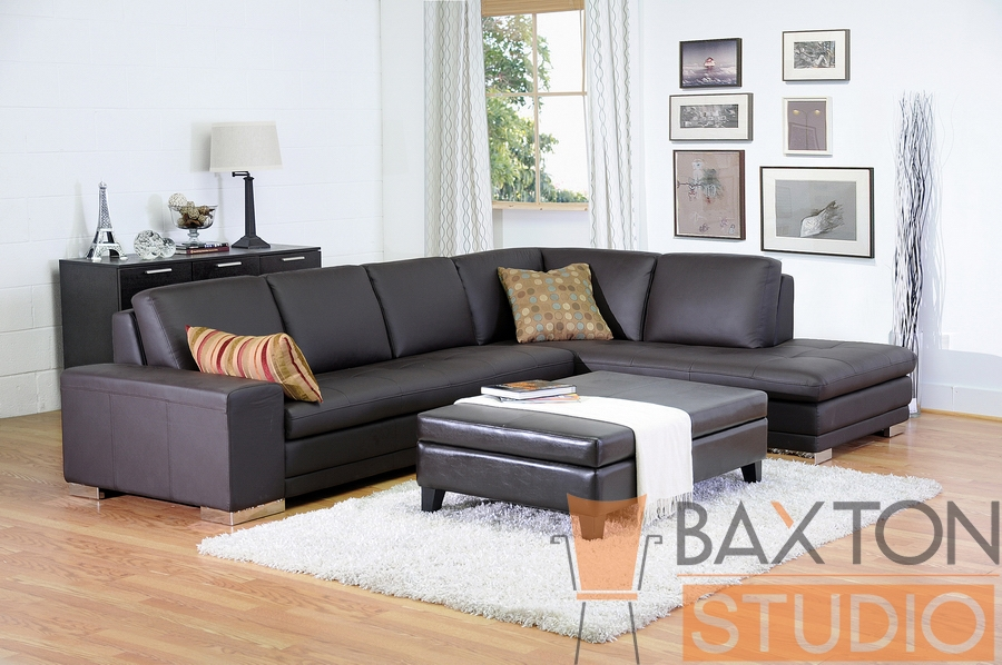... Baxton Studio Callidora Brown Leather Sectional Sofa with Right Facing  Chaise - BSO766-sofa/