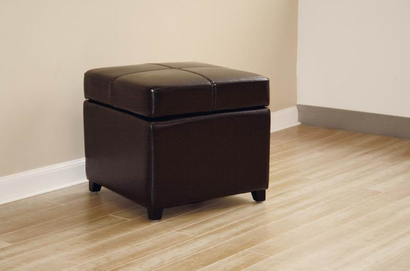 Full Leather Storage Cube Ottoman Affordable Modern
