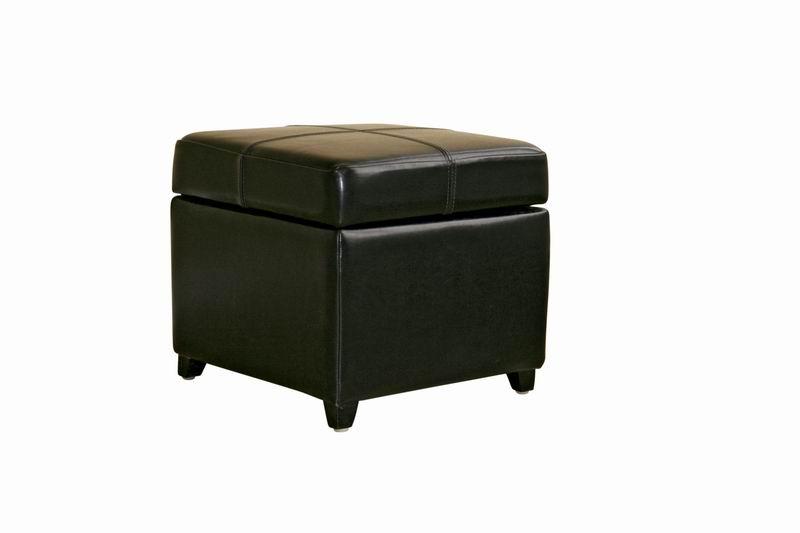 Black Full Leather Storage Cube Ottoman