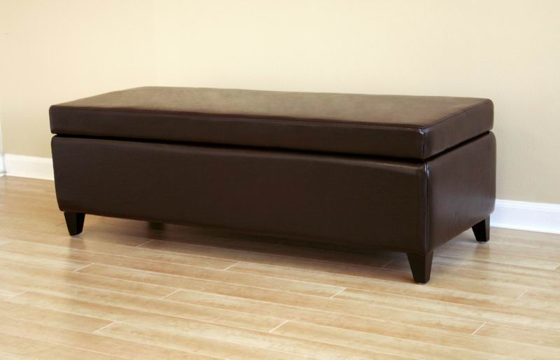 Full Leather Storage Bench Ottoman | Affordable Modern Furniture In Chicago