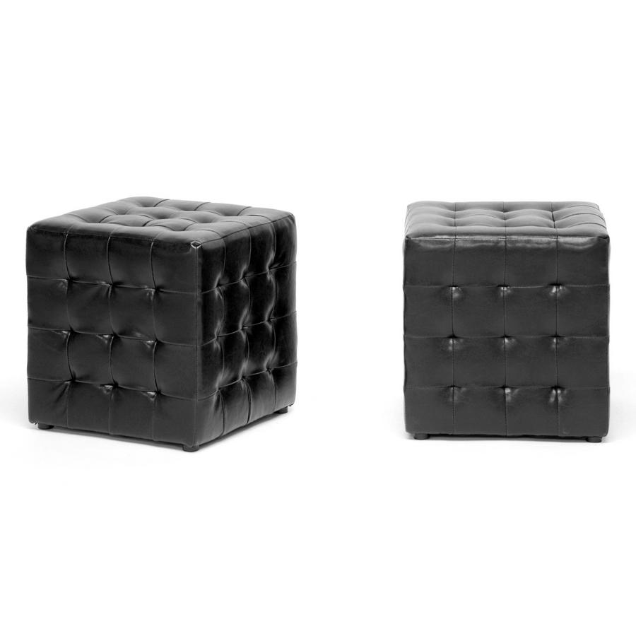 Baxton Studio Siskal Black Modern Cube Ottoman | Living Room ...