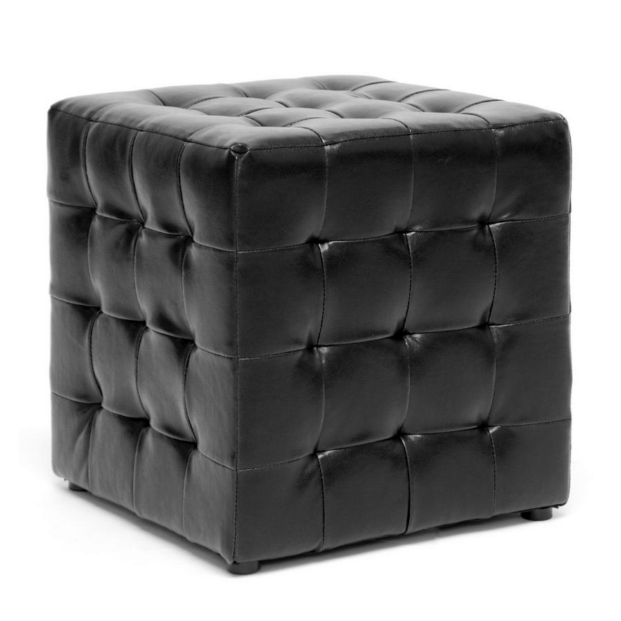 Baxton Studio Siskal Black Modern Cube Ottoman Living