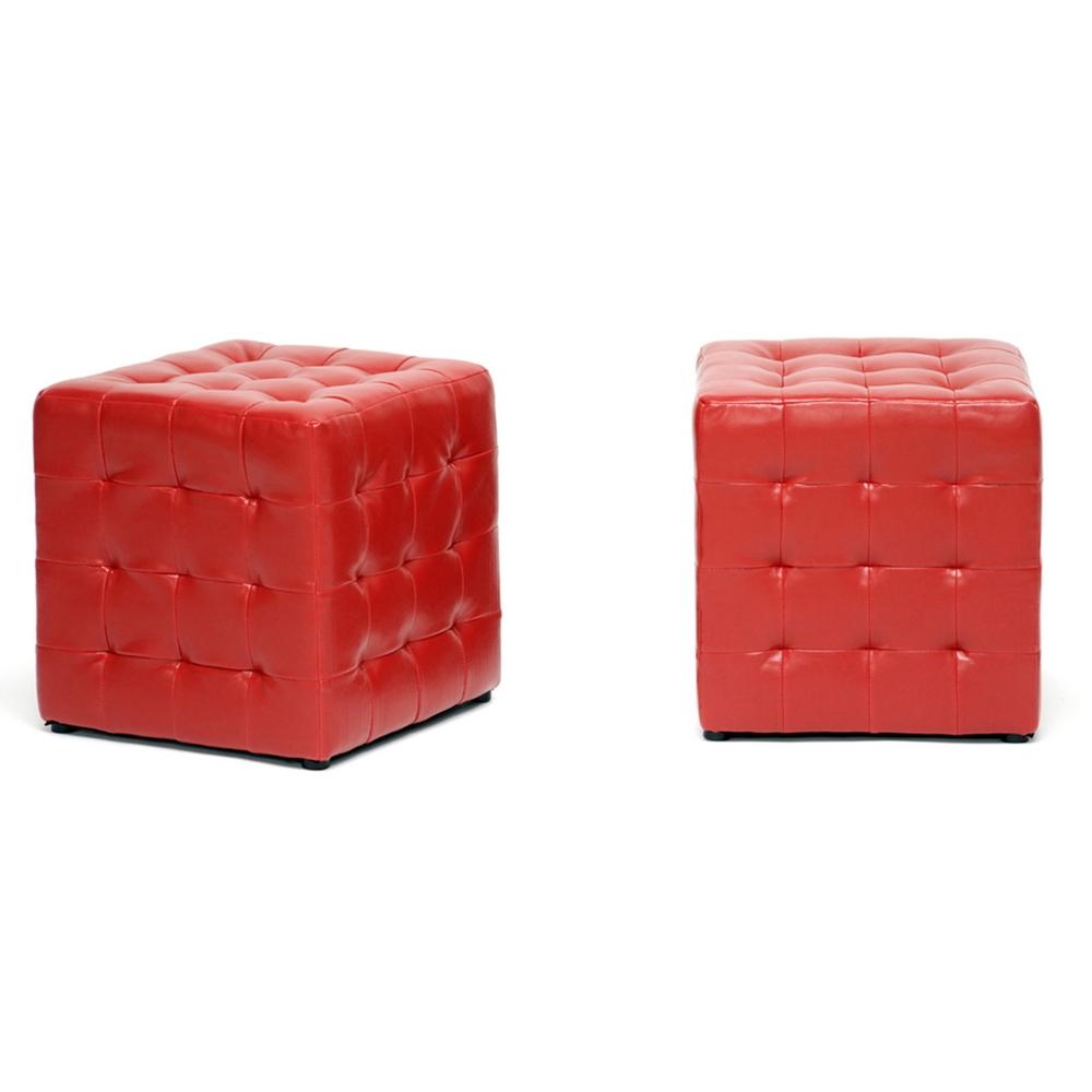 Baxton Studio Siskal Red Modern Cube Ottoman Living Room