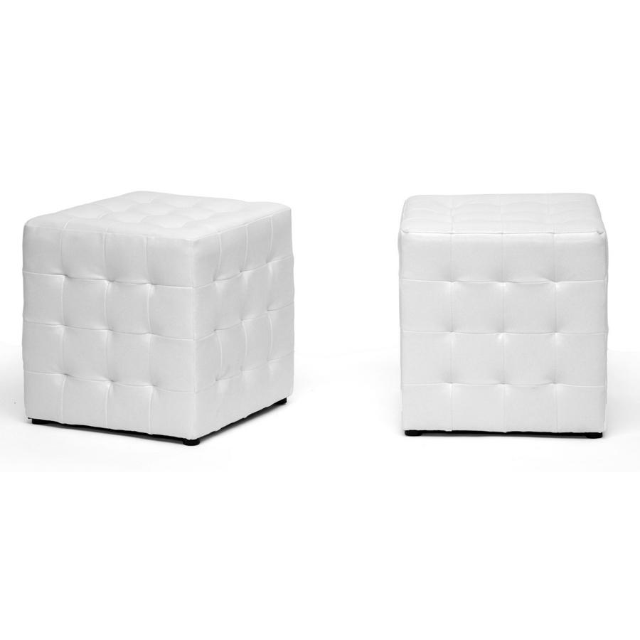 Baxton Studio Siskal White Modern Cube Ottoman Living