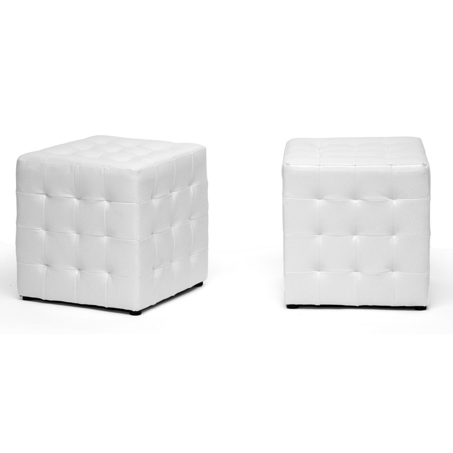 baxton studio siskal white modern cube ottoman living. Black Bedroom Furniture Sets. Home Design Ideas
