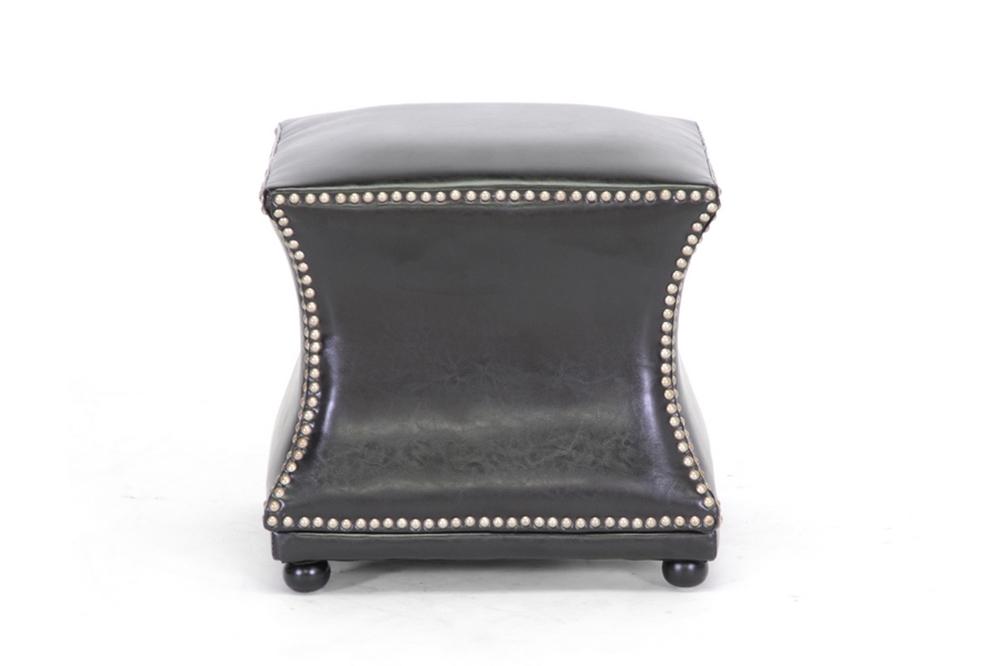 Ellastone Dark Brown Modern Leather Ottoman Affordable