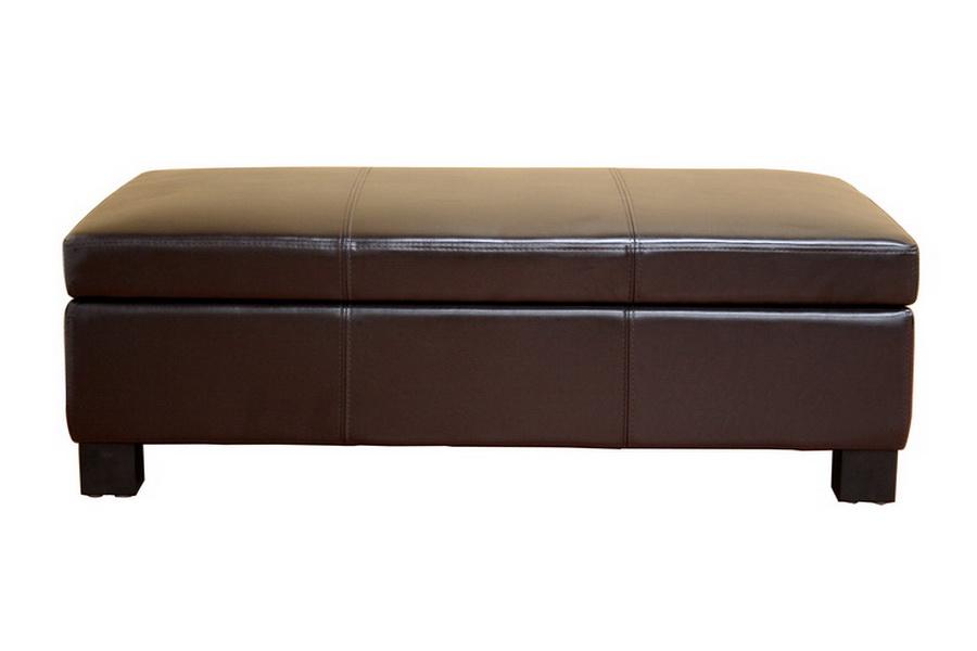Baxton Studio Gallo Brown Leather Large Flip Top Storage Ottoman