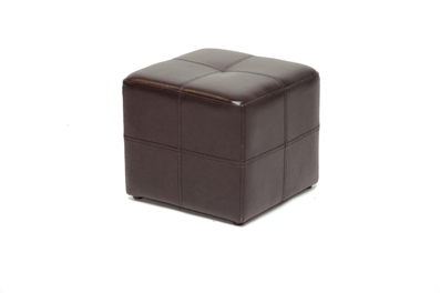 Nox Dark Brown Bonded Leather Cube Ottoman Affordable