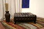 Pemberly Dark Brown Bonded Leather Square Ottoman