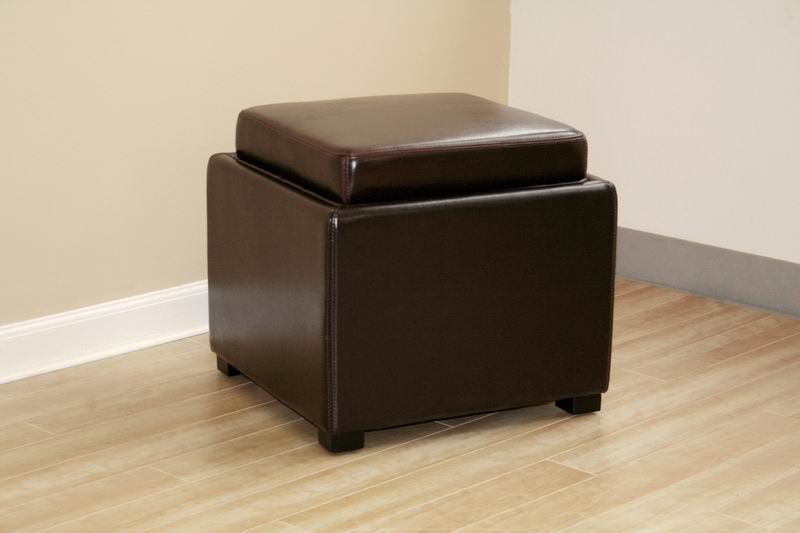 Leather Ottoman Tv Tray With Reversible Flip Lid