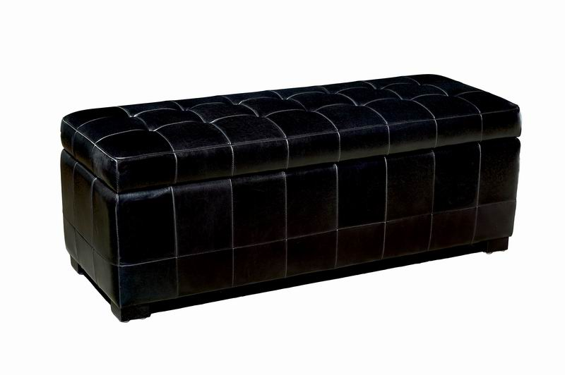 Black Leather Storage Ottoman Display Model | Affordable Modern Furniture  In Chicago