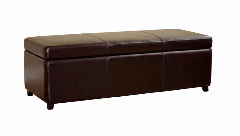 Leather Dark Brown Storage Bench Ottoman