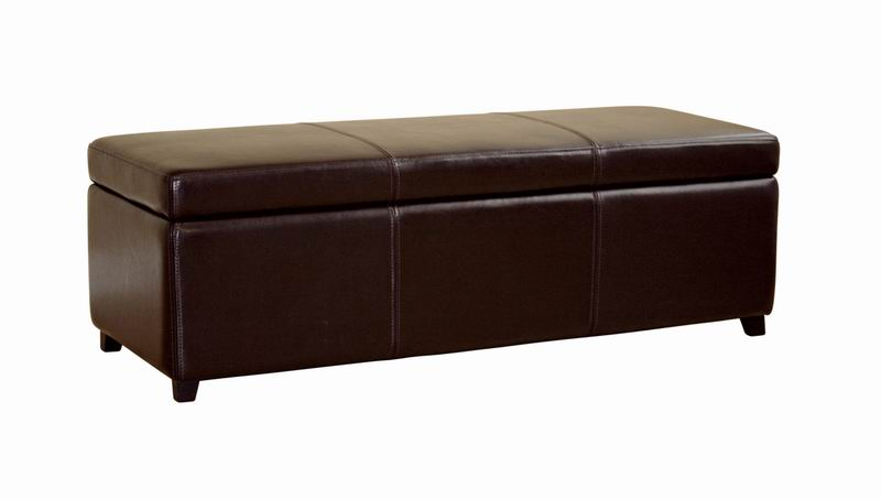 Leather Dark Brown Storage Bench Ottoman Affordable Modern Furniture In Chicago