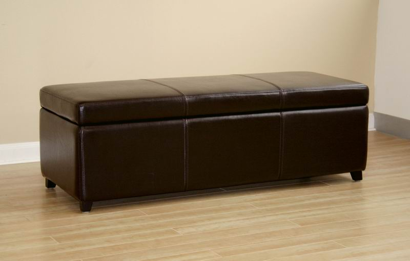 Leather dark brown storage bench ottomanAffordable Modern
