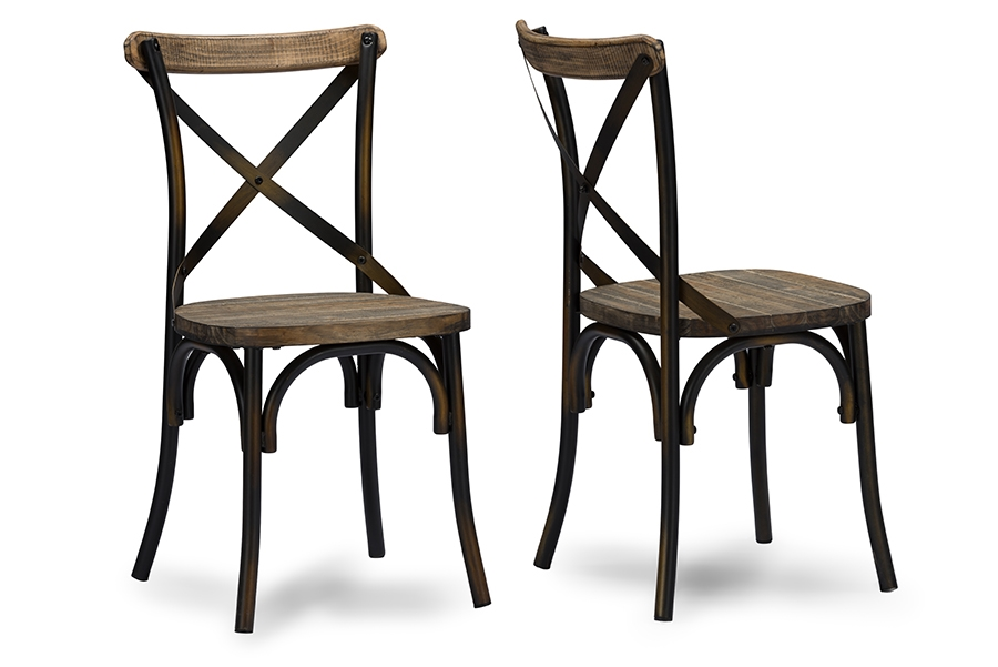 Baxton Studio Konstanze Industrial Walnut Wood And Metal Dining Chair In  Antique Cooper Finishing   BSOM ... Part 57