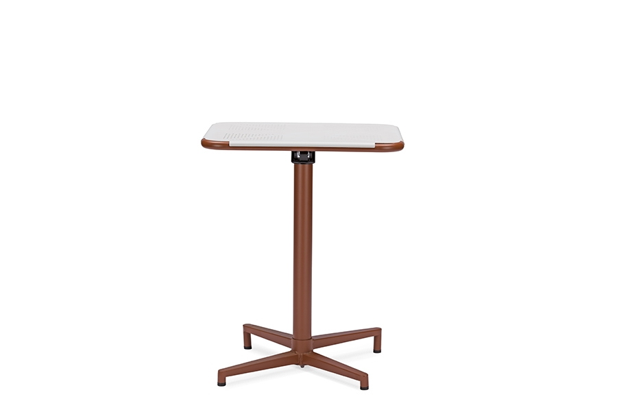 Baxton Studio Marinos 24 Inch Square White Top Bistro Table With Brown  Metal Base ...