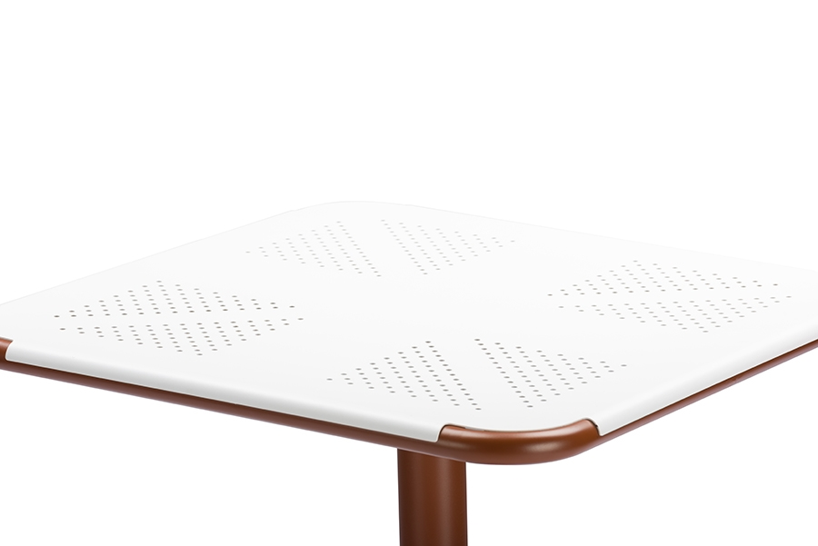 ... Baxton Studio Marinos 24 Inch Square White Top Bistro Table With Brown  Metal Base ...
