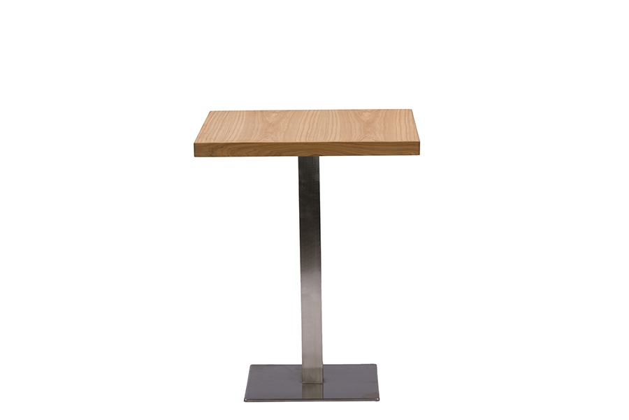 Baxton Studio Owen 24 Inch Square Natural Top Bistro Table With Chrome Base    BSOM ...