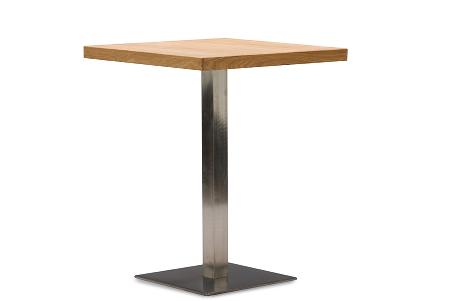 ... Baxton Studio Owen 24 Inch Square Natural Top Bistro Table With Chrome  Base   BSOM ...