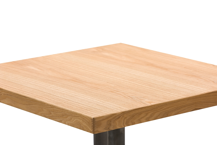 ... Baxton Studio Owen 24 Inch Square Natural Top Bistro Table With Chrome  Base   BSOM