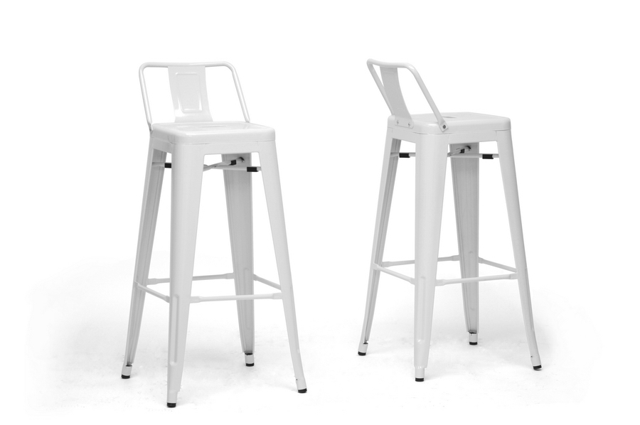 Baxton Studio French Industrial Modern Bar Stool in White with Back SupportSet of 2