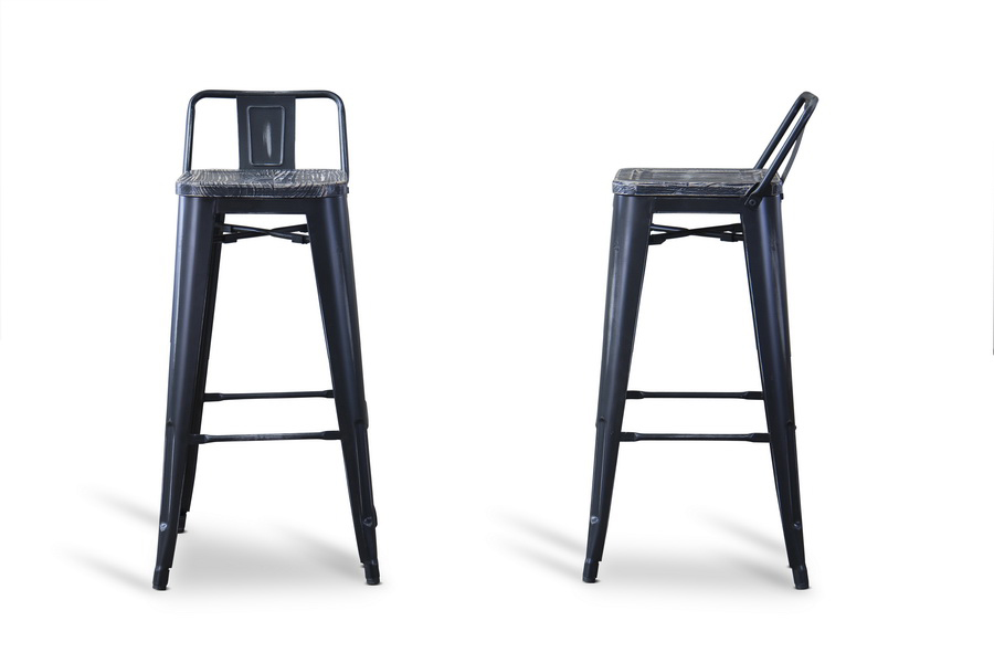 Baxton Studio French Industrial Modern Bar Stool with Low Back in Black Set of