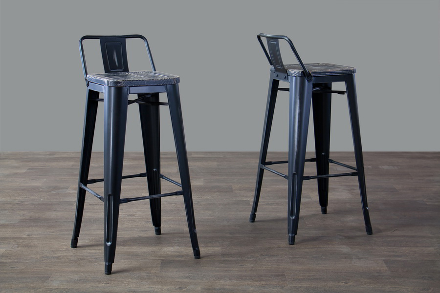 ... Baxton Studio French Industrial Modern Bar Stool with Low-Back in Black (Set of ... : modern bar stools with backs - islam-shia.org