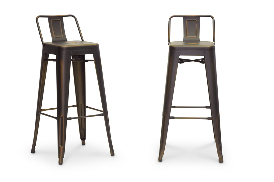 Baxton Studio French Modern Bar Stool With Low Back In Antique Copper 2