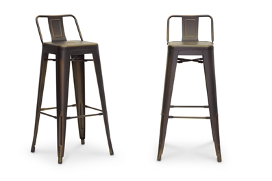 Baxton Studio French Industrial Modern Bar Stool In Antique Copper Affordable Modern Furniture