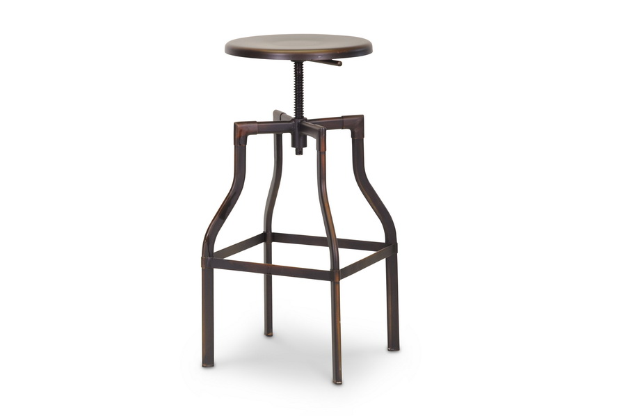 baxton studio industrial bar stool in antiqued copper