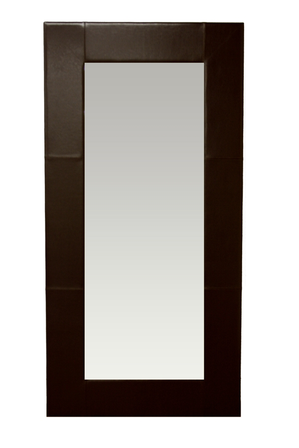 Large Floor Mirror With Leather Frame Warehouse Sale