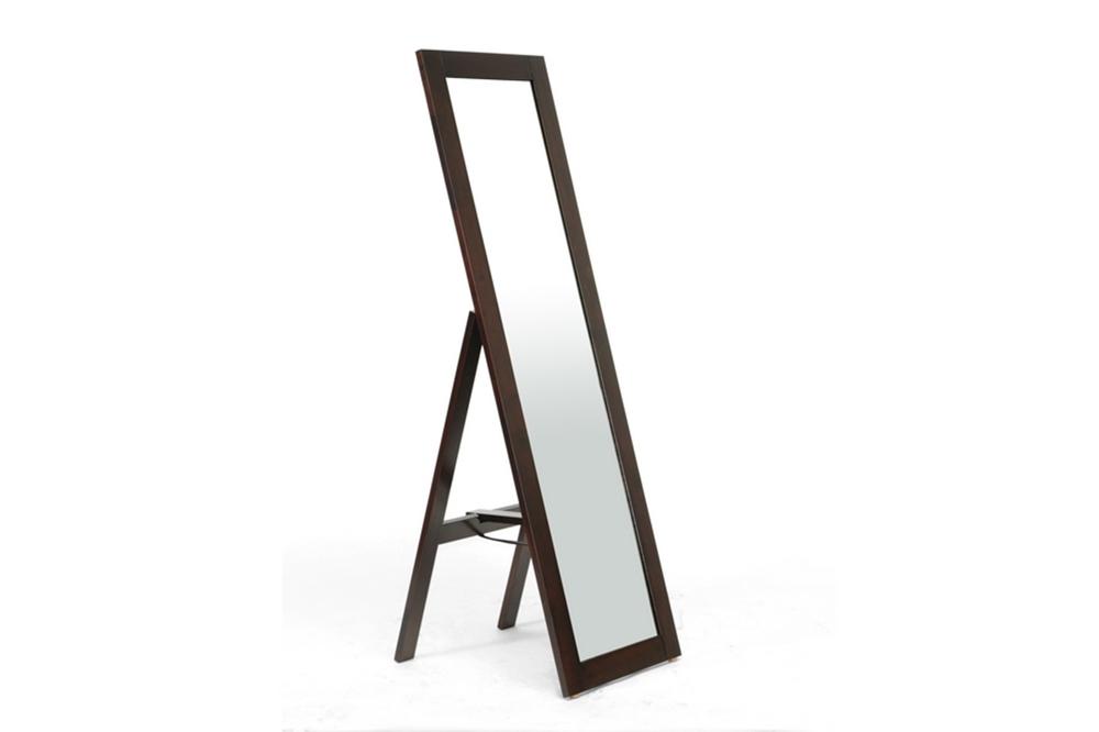 Baxton Studio Lund Dark Brown Wood Modern Mirror With Built In Stand Living Room Furniture