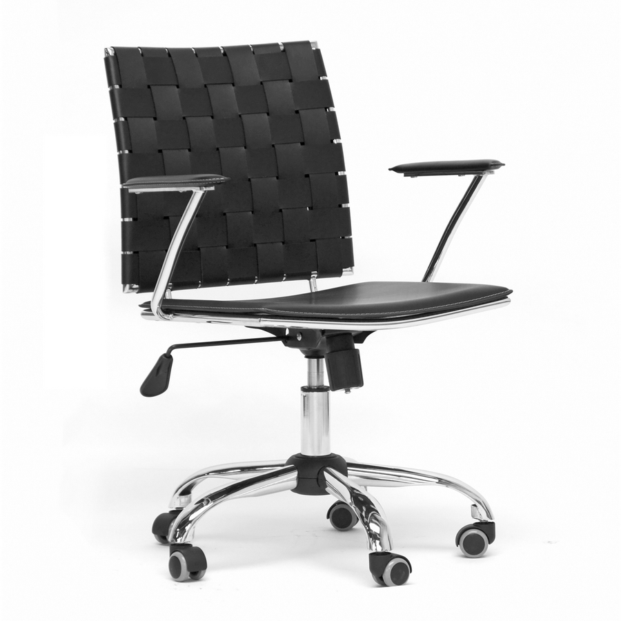 Baxton studio vittoria black leather modern office chair for Modern leather office chairs