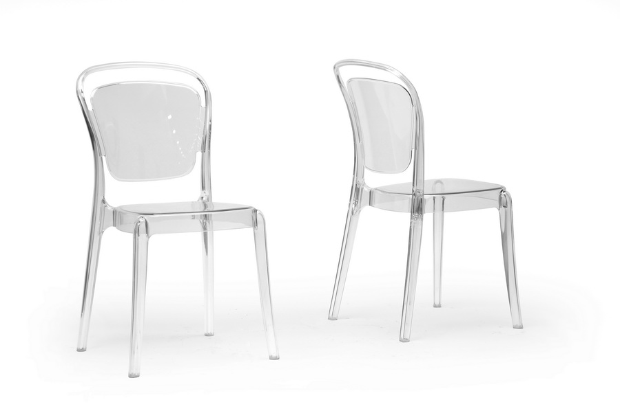 Baxton Studio Ingram Clear Plastic Stackable Modern Dining Chair Set Of 2