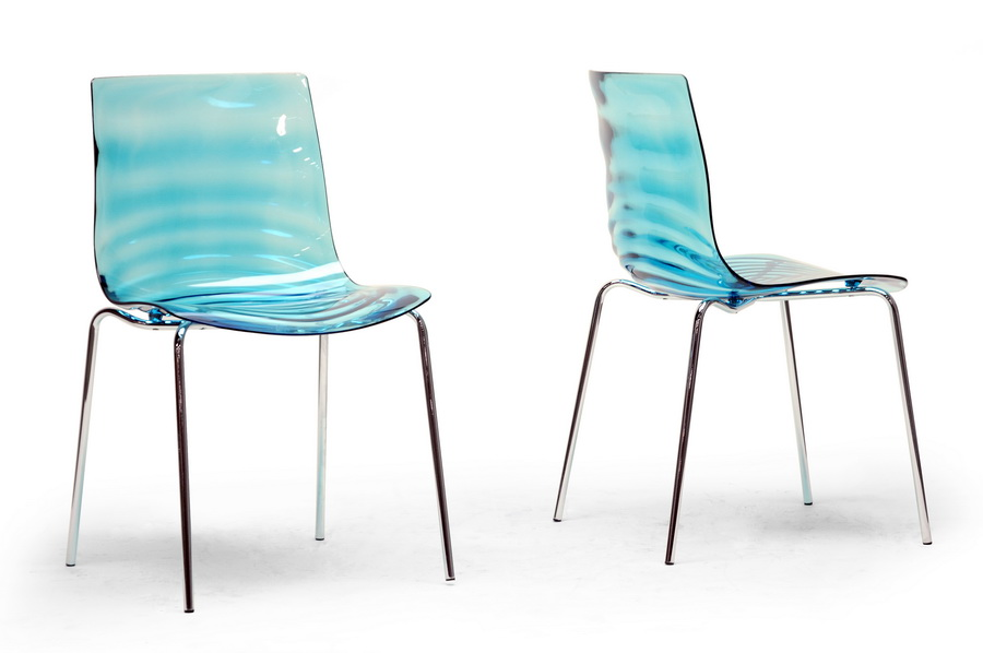 Baxton Studio Marisse Blue Plastic Modern Dining Chair Set Of 2