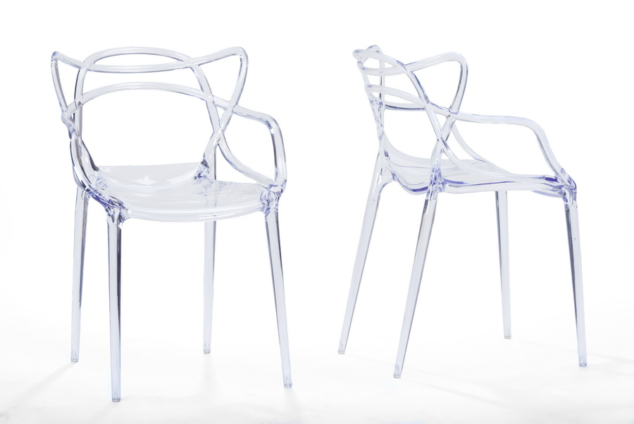 Baxton Studioelectron Clear Plastic Contemporary Dining Chair Affordable Modern Furniture In