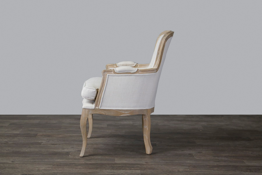 Baxton Studio Napoleon Traditional French Accent Chair Oak