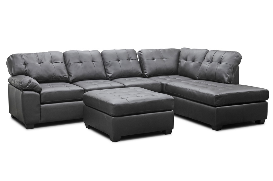 Mario brown leather modern sectional sofa with ottoman for Affordable furniture 3 piece sectional in jesse cocoa