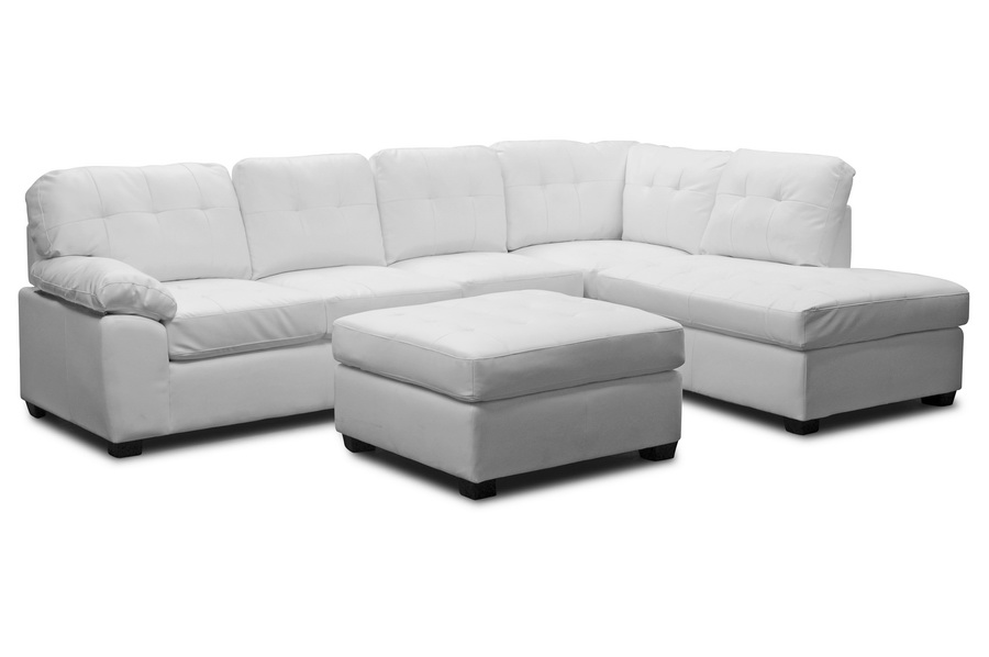 Baxton Studio Mario White Leather Modern Sectional Sofa With Ottoman    BSOR7470 SEC RFC ...
