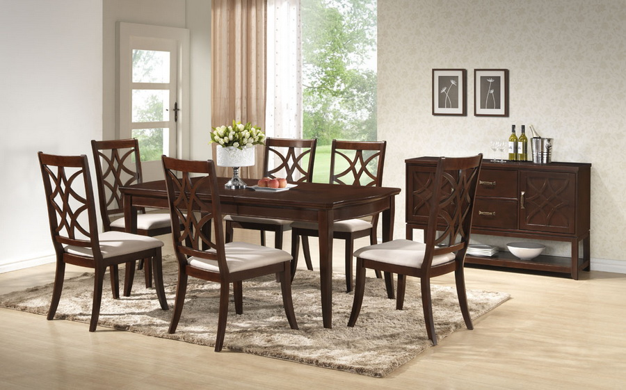 Baxton studio glenview brown wood 7 piece modern dining for 7 piece dining room sets under 1000