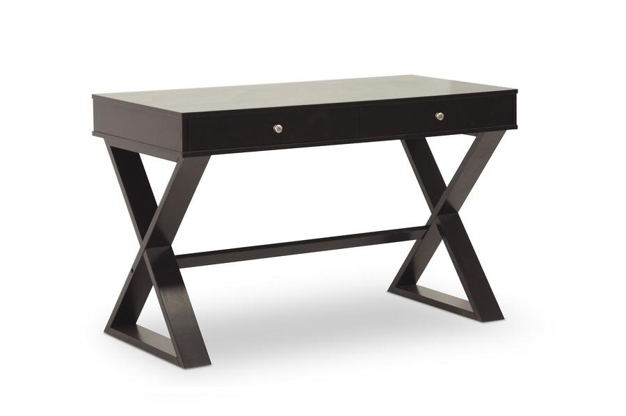 Baxton studio ottwell dark brown modern desk affordable for Modern affordable office furniture