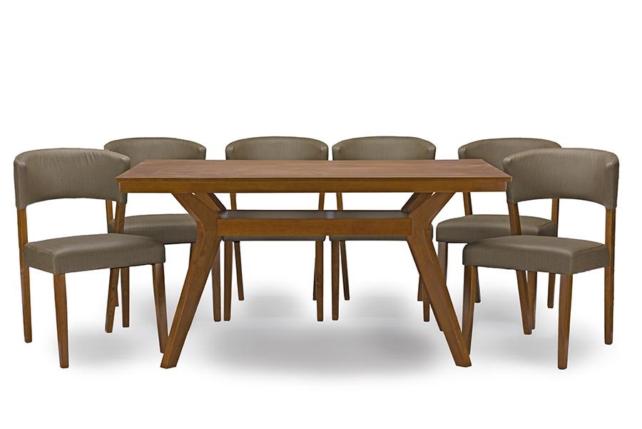 Baxton Studio Montreal Mid Century Dark Walnut Wood 7PC Dining Set    BSORT347 281 ... Gallery