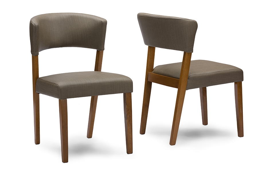 Baxton Studio Montreal Mid Century Dark Walnut Wood Grey Faux Leather  Dining Chairs