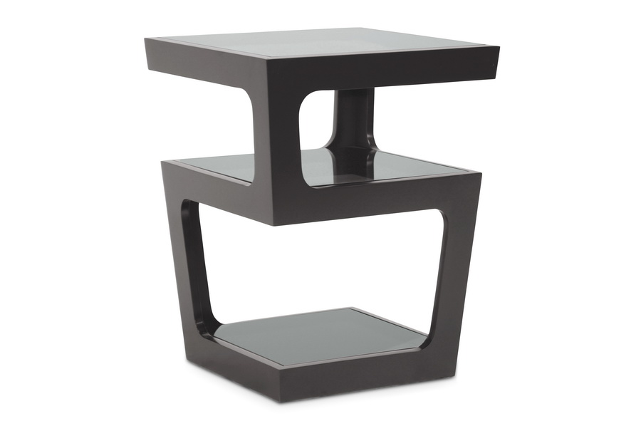 Baxton studio clara black modern end table with 3 tiered glass shelves affordable modern for Black end tables for living room