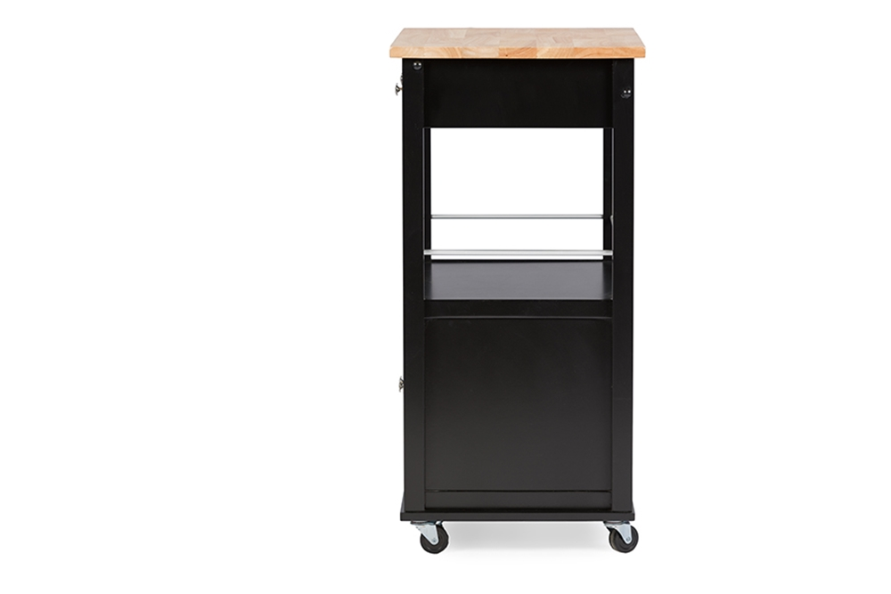 Baxton Studio Denton Contemporary Black Kitchen Cart