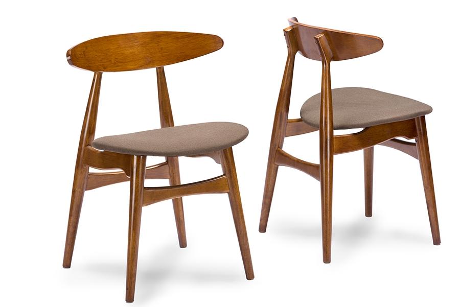 Baxton Studio Flamingo Mid Century Dark Walnut Wood Grey Faux Leather  Dining Chairs