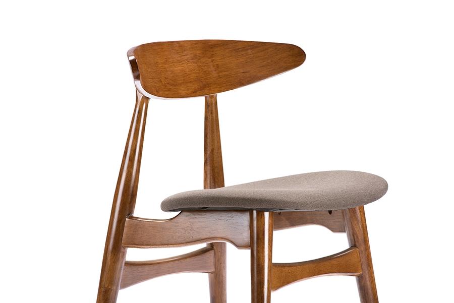Baxton Studio Flamingo Mid Century Dark Walnut Wood Grey Faux